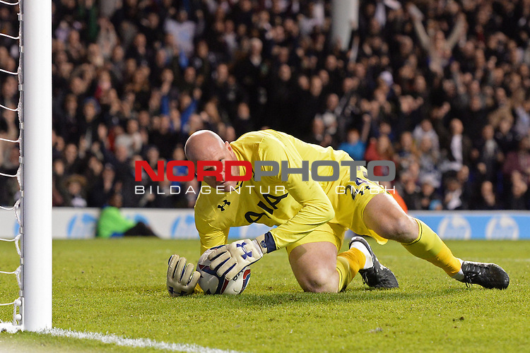 Tottenham's Brad Friedel reacts after saving a penalty  30/10/2013 - SPORT - FOOTBALL - White Hart Lane - London - Tottenham Hotspur v Hull City - Capital One Cup - Forth Round<br /> Foto nph / Meredith<br /> <br /> ***** OUT OF UK *****