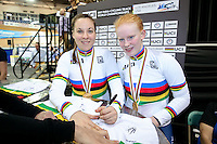 Picture by Alex Whitehead/SWpix.com - 02/03/2017 - Cycling - UCI Para-cycling Track World Championships - Velo Sports Center, Los Angeles, USA - Great Britain's Corrine Hall and Sophie Thornhill celebrate winning Gold in the Women's B 3 km Individual Pursuit final.<br /> branding