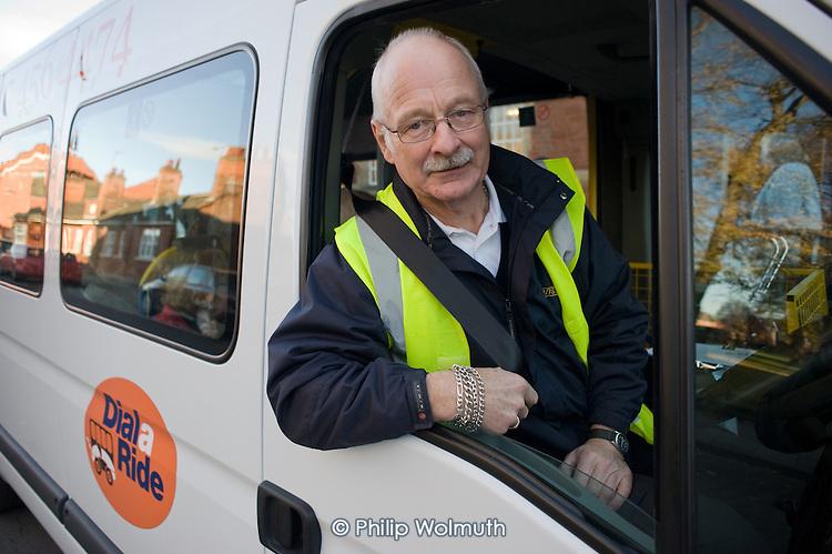 Fred Dawling, Dial-a-Ride driver, Gainsborough, Lincolnshire.