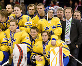 Team Sweden celebrates after defeating Team Switzerland 11-4 to win the bronze medal in the 2010 World Juniors tournament on Tuesday, January 5, 2010, at the Credit Union Centre in Saskatoon, Saskatchewan.