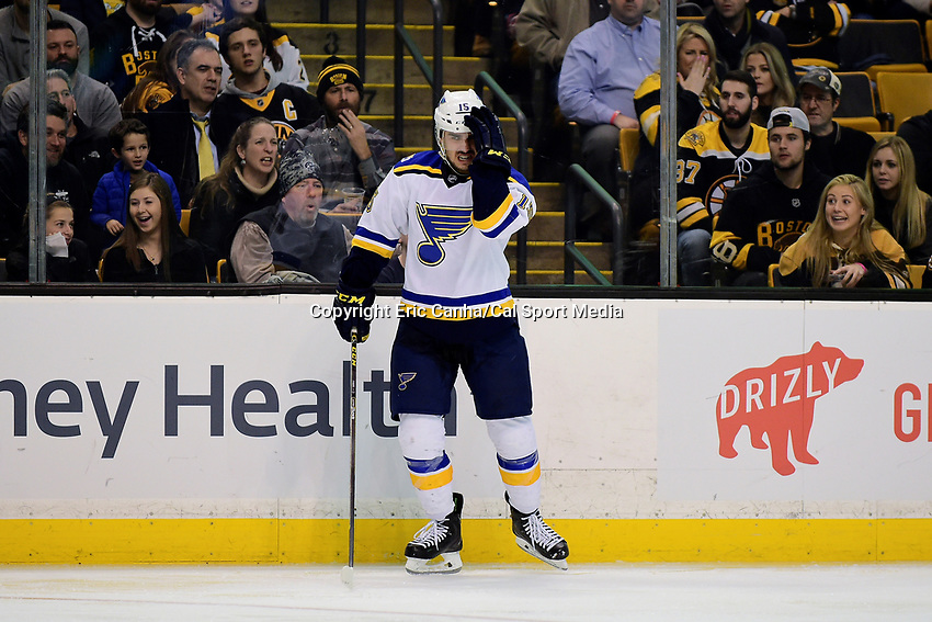 Tuesday, November 22, 2016: St. Louis Blues center Robby Fabbri (15) reacts to a hit during the National Hockey League game between the St. Louis Blues and the Boston Bruins held at TD Garden, in Boston, Mass. The Blues defeat the Bruins 4-2. Eric Canha/CSM