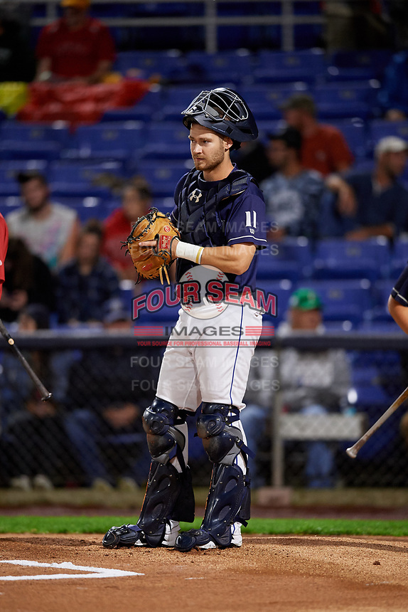 Binghamton Rumble Ponies catcher Patrick Mazeika (11) during a game against the Portland Sea Dogs on August 31, 2018 at NYSEG Stadium in Binghamton, New York.  Portland defeated Binghamton 4-1.  (Mike Janes/Four Seam Images)