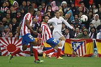11.04.2012 MADRID, SPAIN - La Liga match played between At. Madrid vs Real Madrid (1-4) with hat-trick of Cristiano Ronaldo at Vicente Calderon stadium. The picture show Cristiano Ronaldo (Portuguese forward of Real Madrid) and Juan Francisco Torres (Spanish midfielder of At. Madrid)