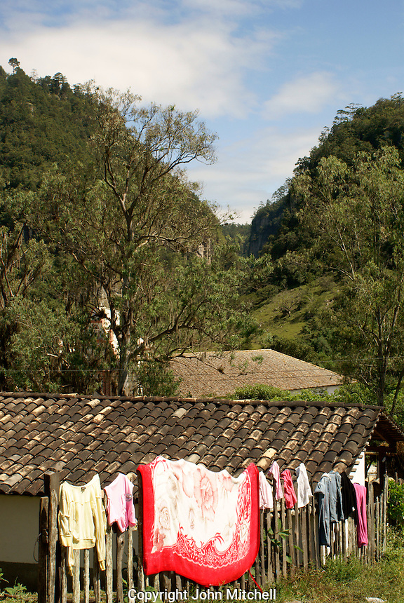 Laundry drying  in the Lenca Indian village of La Campa, Lempira, Honduras....