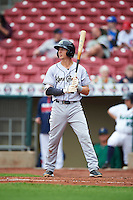 Kane County Cougars shortstop Galli Cribbs (1) during the first game of a doubleheader against the Cedar Rapids Kernels on May 10, 2016 at Perfect Game Field in Cedar Rapids, Iowa.  Kane County defeated Cedar Rapids 2-0.  (Mike Janes/Four Seam Images)