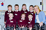 Tara McSherry with her junior infant class on their first day of school at Knockaderry NS Farranfore on Friday front row l-r: Daniel O'Sullivan, Niamh O'Sullivan, Reuben o'Leary-Griffin. Back row: Ruairi Casey, Liam Smith, Aoibhínn Daly and Cillian Daly