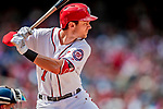 20 May 2018: Washington Nationals shortstop Trea Turner in action against the Los Angeles Dodgers at Nationals Park in Washington, DC. The Dodgers defeated the Nationals 7-2, sweeping their 3-game series. Mandatory Credit: Ed Wolfstein Photo *** RAW (NEF) Image File Available ***