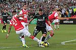 Bogotá- Atlético Nacional venció 1 gol por 0 a Independiente Santa Fe, en el partido correspondiente a la fecha 13 del Torneo Clausura 2014, desarrollado en el estadio Nemesio Camacho El Campín.
