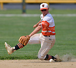 Waterloo second baseman Tyson Roedl snags a Carbondale grounder up the middle. Waterloo defeated Carbondale in the Class 3A Salem baseball sectional championship game at Salem HS in Salem, IL on Saturday June 1, 2019.<br /> Tim Vizer/Special to STLhighschoolsports.com