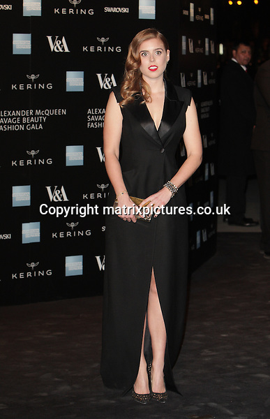 NON EXCLUSIVE PICTURE: MATRIXPICTURES.CO.UK<br /> PLEASE CREDIT ALL USES<br /> <br /> WORLD RIGHTS<br />  <br /> Princess Beatrice of York attending the Victoria &amp; Albert Museum Fashion Benefit Dinner &amp; Alexander McQueen: Savage Beauty Preview, at the Victoria and Albert Museum in London.<br /> <br /> MARCH 12th 2015<br /> <br /> REF: GBH 15832