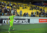Jets goalkeeper Glen Moss throws a glove to fans after during the A-League football match between Wellington Phoenix and Newcastle Jets at Westpac Stadium in Wellington, New Zealand on Saturday, 30 March 2019. Photo: Dave Lintott / lintottphoto.co.nz