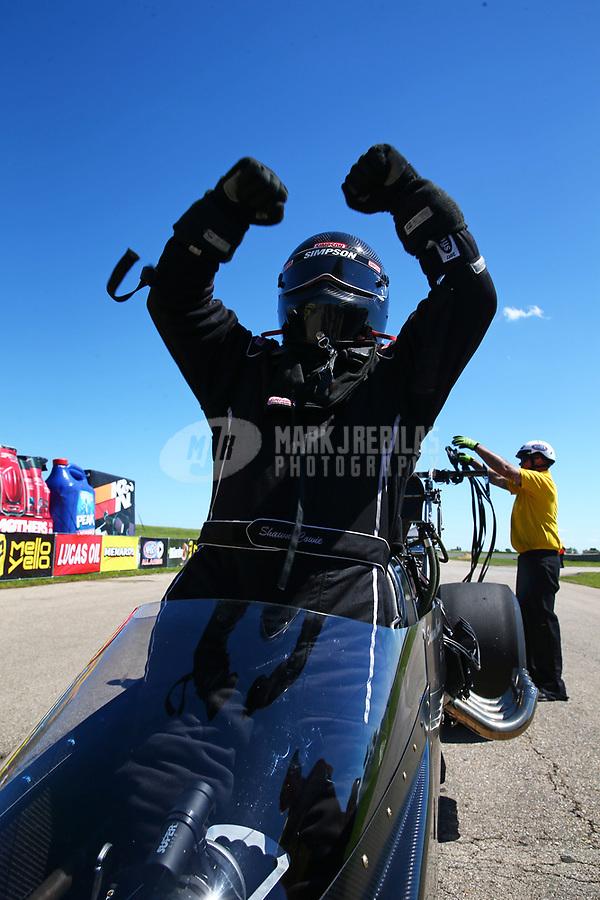 May 21, 2017; Topeka, KS, USA; NHRA top alcohol dragster driver Shawn Cowie celebrates after winning the Heartland Nationals at Heartland Park Topeka. Mandatory Credit: Mark J. Rebilas-USA TODAY Sports