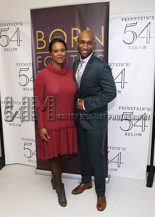 "Rebecca Covington and Donald Webber Jr. backstage after a Song preview performance of the Bebe Winans Broadway Bound Musical ""Born For This"" at Feinstein's 54 Below on November 5, 2018 in New York City."