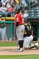 Chris Nelson (3) of the Albuquerque Isotopes at bat against the Salt Lake Bees in Pacific Coast League action at Smith's Ballpark on August 30, 2016 in Salt Lake City, Utah. The Bees defeated the Isotopes 3-2. (Stephen Smith/Four Seam Images)