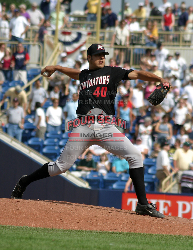 August 17, 2003:  Rolando Garza of the Kannapolis Intimidators during a game at Classic Park in Eastlake, Ohio.  Photo by:  Mike Janes/Four Seam Images