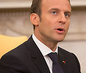 President Emmanuel Macron of France speaks to the media during a meeting with United States President Donald J. Trump during a state visit to The White House in Washington, DC, April 24, 2018. Credit: Chris Kleponis / Pool via CNP