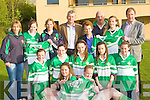 Lily O'Donoghue presents Legion underage girls a set of football shirts in memory of her husband James O'Donoghue who was a former President of the club front row l-r: Emma Murphy, Kathleen Horan. Middle row: Corah McGlynn, Julie Kelly, Maud Looney, Emma O'Mahony, Katherine Coffey. Back row: Joan Marie O'Mahony, Aisling Coffey, Louise Moriarty, Donal O'Donoghue, lily O'Donoghue, Sean O'Sullivan, Mairead O'Donoghue and Sean Murphy.