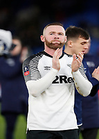 5th January 2020; Selhurst Park, London, England; English FA Cup Football, Crystal Palace versus Derby County; Wayne Rooney of Derby County applauding the Derby County fans with his team mates after the final whistle as Derby County beat Crystal Palace at Selhurst Park 0-1 to go into round four  - Strictly Editorial Use Only. No use with unauthorized audio, video, data, fixture lists, club/league logos or 'live' services. Online in-match use limited to 120 images, no video emulation. No use in betting, games or single club/league/player publications