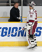 Matt Whalen (Harvard - Athletic Trainer), Merrick Madsen (Harvard - 31) - The Harvard University Crimson defeated the Providence College Friars 3-0 in their NCAA East regional semi-final on Friday, March 24, 2017, at Dunkin' Donuts Center in Providence, Rhode Island.