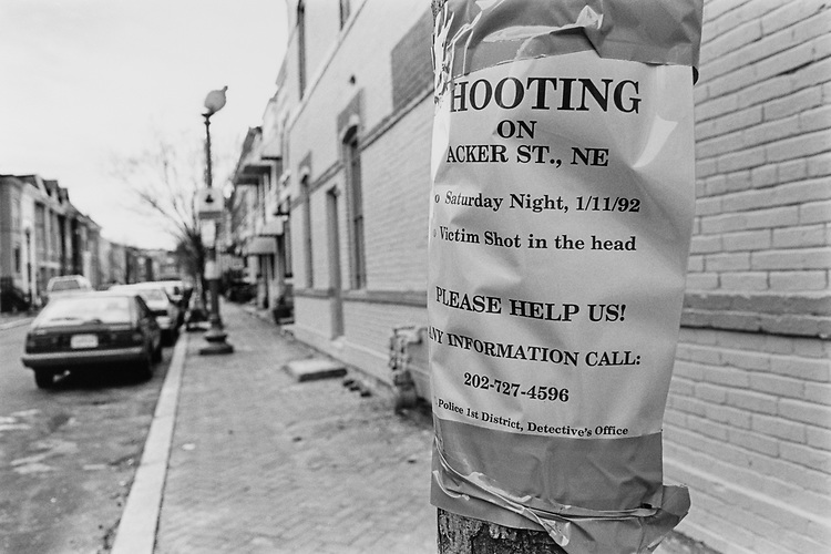 Poster tacked up on tree asking for help shooting up Sen. Richard Shelby's D-Ala., staff person, Barnes, on Jan. 11, 1992. (Photo by Maureen Keating/CQ Roll Call via Getty Images)