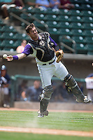 Winston-Salem Dash catcher Brett Austin (7) makes a throw to first base against the Wilmington Blue Rocks at BB&T Ballpark on June 26, 2016 in Winston-Salem, North Carolina.  The Dash defeated the Blue Rocks 5-1.  (Brian Westerholt/Four Seam Images)