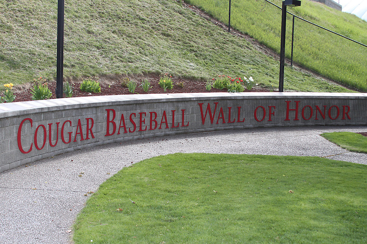 A view of the Cougar Baseball Wall of Honor at the entrance to Bailey-Brayton Field, the baseball home of the Washington State Cougars baseball team, on the campus of Washington State University in Pullman, Washington.
