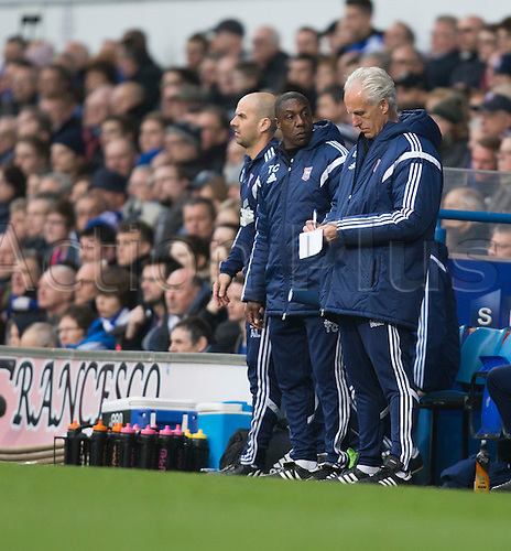 03.04.2015.  Ipswich, England. Skybet Championship. Ipswich Town versus AFC Bournemouth. Mick McCarthy, the Ipswich Town manager takes some notes on the sideline.