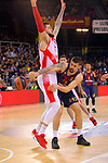 Turkish Airlines Euroleague 2017/2018.<br /> Regular Season - Round 28.<br /> FC Barcelona Lassa vs Baskonia Vitoria Gasteiz: 73-86.<br /> Vincent Poirier vs Adrien Moerman.