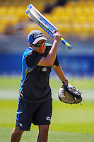 NZ coach Mike Hesson warms his team up before the ICC Cricket World Cup one day pool match between the New Zealand Black Caps and England at Wellington Regional Stadium, Wellington, New Zealand on Friday, 20 February 2015. Photo: Dave Lintott / lintottphoto.co.nz