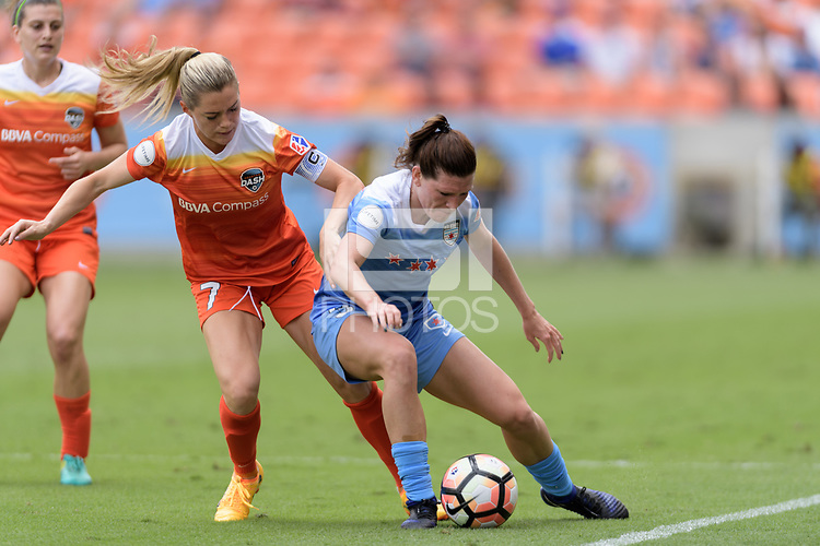 Houston, TX - The Houston Dash defeated the Chicago Red Stars 2-0 on Saturday April 15, 2017: Kealia Ohai, Arin Gilliland during a regular season National Women's Soccer League (NWSL) match at BBVA Compass Stadium.