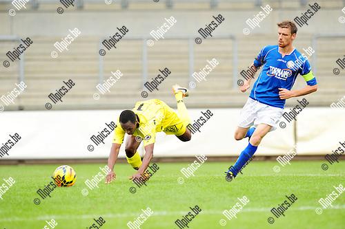 2014-06-28 / Voetbal / seizoen 2014-2015 / ASV Geel - Lierse SK / Alhassane Keita (l. Lierse) met Jo Christiaens<br /><br />Foto: mpics.be
