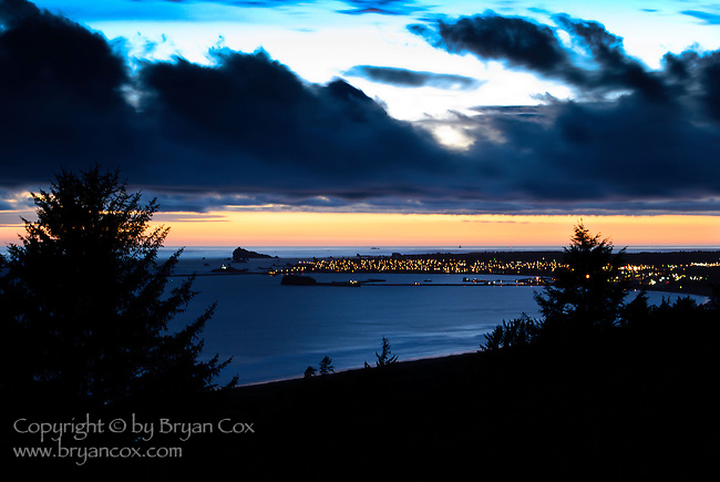 Crescent City, California at dusk
