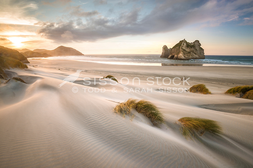 Rippled sand, Archway Islands, Wharariki Beach, Golden Bay, New Zealand - stock photo, canvas, fine art print