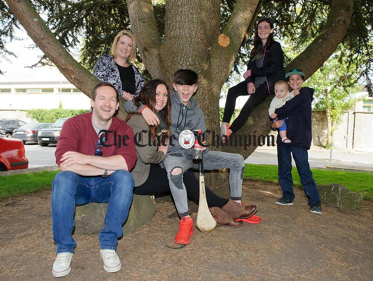 Graham Killoughery, Laura Delargy, Shona Killoughery, Eire Mc Kenney, Caedan Killoughery and TC Mc Kenney during Fleadh Cheoil na hEireann in Ennis. Photograph by John Kelly.