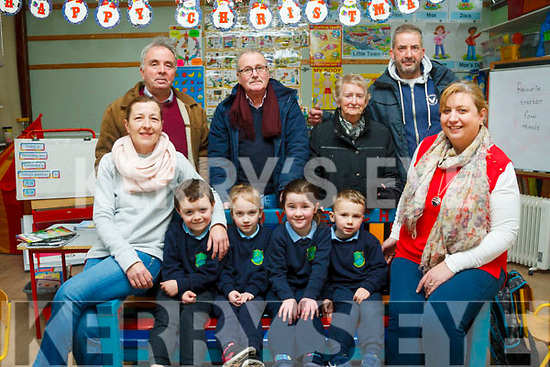 KC Men's Shed presented a Buddy Bench to St Joseph's National School in Castlemaine last week. <br /> Front lr Mags Byrne (Parents Council), John Murphy, Eve Giles, Clodagh Lenihan and Ryan Giles. <br /> Back Left to Right past principal Brendan Dennehy, David Foley (KC Men's shed), Katherine Corcoran (past principal) and Martin Greenwood (KC Men's Shed).