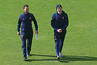 James Foster and Sam Cook of Essex walk off the pitch after assessing the conditions during Yorkshire CCC vs Essex CCC, Specsavers County Championship Division 1 Cricket at Emerald Headingley Cricket Ground on 16th April 2018