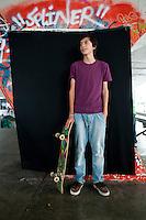 Alban Alberto Ruiz Barragan, 16 years of age. Portraits of Adolescents San Cosme skate park, in Mexico City. Release # 12