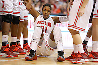 Ohio State's Raven Ferguson (31) is helped up after being fouled during a women's basketball game between the Ohio State Buckeyes and the North Carolina Central Eagles on December 29, 2013 at Value City Arena. (Columbus Dispatch photo by Fred Squillante)