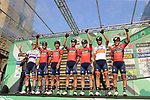 Bahrain-Merida at sign on before the start of the 112th edition of Il Lombardia 2018, the final monument of the season running 241km from Bergamo to Como, Lombardy, Italy. 13th October 2018.<br /> Picture: Eoin Clarke | Cyclefile<br /> <br /> <br /> All photos usage must carry mandatory copyright credit (© Cyclefile | Eoin Clarke)