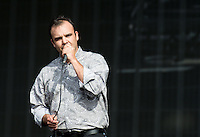 Frontman Samuel T Herring of Future Islands performs during British Summertime Music Festival at Hyde Park, London, England on 18 June 2015. Photo by Andy Rowland.