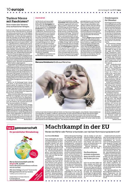 die tageszeitung taz (German daily) citing our photographers' views of the new European Parliament's agenda. Warsaw, Poland, 05.2019.<br /> Photo: Marzena Hmielewicz
