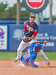 8 March 2015: Boston Red Sox infielder Reed Gragnani turns a double play during Spring Training action against the New York Mets at Tradition Field in Port St. Lucie, Florida. The Mets fell to the Red Sox 6-3 in Grapefruit League play. Mandatory Credit: Ed Wolfstein Photo *** RAW (NEF) Image File Available ***