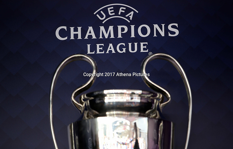 SWANSEA, WALES - APRIL 22: The Champions League trophy on display outside the stadium prior to the Premier League match between Swansea City and Stoke City at The Liberty Stadium on April 22, 2017 in Swansea, Wales. (Photo by Athena Pictures/Getty Images)