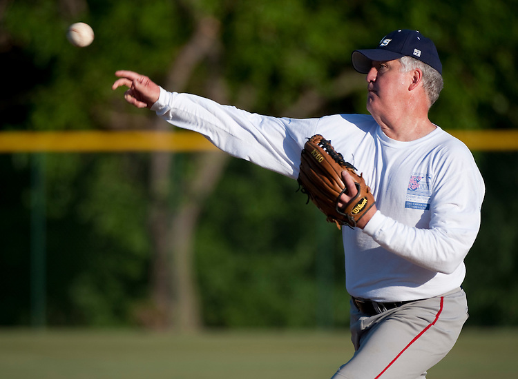 UNITED STATES - JUNE 15: Rep. John Shimkus, R-Ill., pitches during the Republicans' baseball practice at Four Mile Run Park in Alexandria, Va., on Wednesday morning, June 15, 2011. The Republicans will face off against the Democrats in the 50th Annual Congressional Baseball Game at Nationals Stadium in Washington on July 14, 2011. (Photo By Bill Clark/Roll Call)