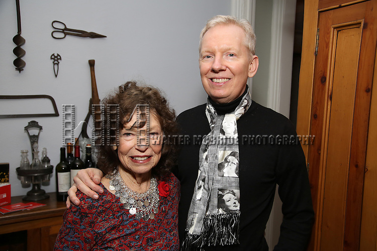 Gretchen Cryer and John Epperson attends the Dramatists Guild Fund Salon with Matthew Sklar and Chad Beguelin at the home of Gretchen Cryer on December 8, 2016 in New York City.