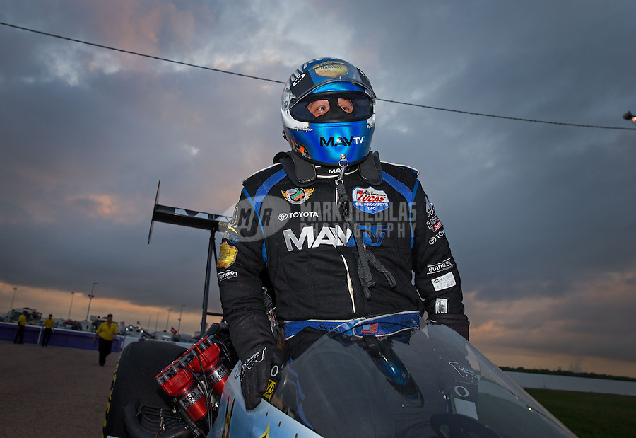 Apr. 26, 2013; Baytown, TX, USA: NHRA top fuel dragster driver Brandon Bernstein during qualifying for the Spring Nationals at Royal Purple Raceway. Mandatory Credit: Mark J. Rebilas-