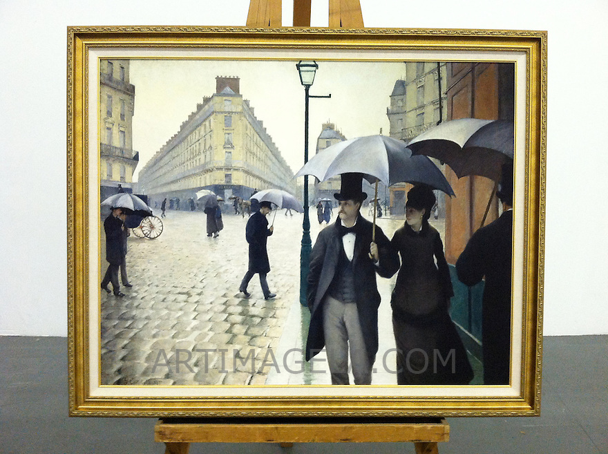 """Cleared Reproduction of Gustave Caillebotte's Paris Rainy Day Framed Dimensions 36 1/2"""" x 44 1/2"""" Reproduction of Paris Street; Rainy Day (or Paris: A Rainy Day) is a large (212.2cm x 276cm) 1877 oil painting by the French artist Gustave Caillebotte. The piece depicts the Place de Dublin, an intersection near the Gare Saint-Lazare, a railroad station in north Paris."""