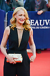 """Patricia Davies Clarkson poses on the red carpet before the screening of the film """"The Man from U.N.C.L.E."""" during the 41st Deauville American Film Festival on September 11, 2015 in Deauville, France"""