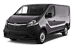Angular Front Three Quarter View of 2015 Opel Vivaro Edition 4 Door Cargo Van 2WD Stock Photo