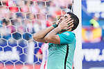 Luis Suarez of Futbol Club Barcelona reacts  during the match of Spanish La Liga between Atletico de Madrid and Futbol Club Barcelona at Vicente Calderon Stadium in Madrid, Spain. February 26, 2017. (ALTERPHOTOS)